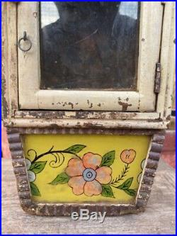 Antique Wood Hand Crafted Glass Painting Wall Hanging Alarm Clock Case Box Rare