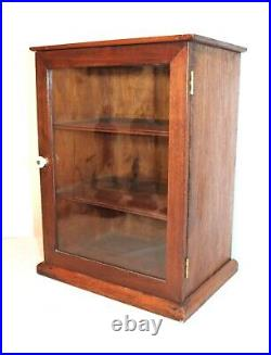 Antique handmade 3 shelf medical apothecary wood display case glass cabinet