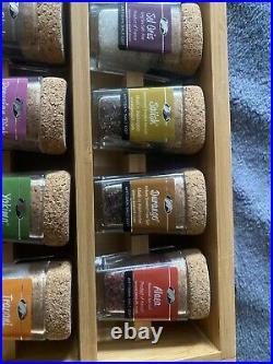 Artisan Sea Salt Sampler Box 24 Glass Bottles Slotted Display Case Wood