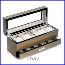 BEY BERK Watch Case Box 12X5.15X4.25 Inch 5 Holder See Thru Glass Top Wood Gray