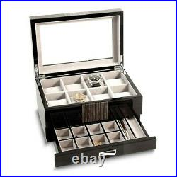 BRAND NEW High Gloss Lacquered Wenge Wood Finish Glass Lid 1-Draw Watch Case