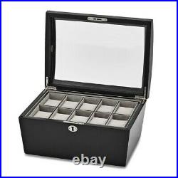 BRAND NEW Java Finish Domed Glass Lid Locking Wood Composite Watch Case