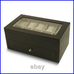 BRAND NEW Matte Black Finish Glass Lid 1-Drawer Velour Lined Wood Watch Case