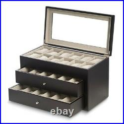 BRAND NEW Matte Black Finish Glass Lid 2-Drawer Velour Lined Wood Watch Case