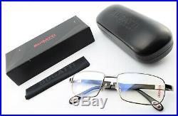 BUGATTI Brille Mod. 548 023 5518 140 Square Eyeglasses Ruthenium Wood +Case