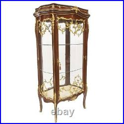 Baroque Style Wood / Brass Glass Case With Marble Top #mb7