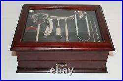 Bartender Kit Premium Cocktail Mixing Glass Bar Set13 Piece Wood Glass Case