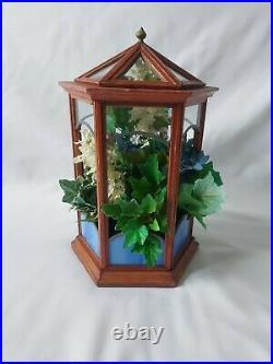 Beautiful Vintage Gazebo Terrarium Wardian Case Wood Glass Hexagonal 33cm High