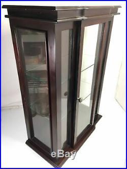 Bombay Company Glass Knick Knack 3 Shelf Vintage Curio Wood Display Wall Case