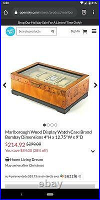 Bombay Marlborough Burl Wood & Glass 10-Watch Case
