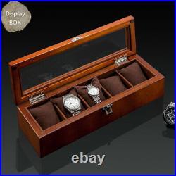 Box Watch Display Storage Wood Jewelry Case Organizer Glass Top 12 Slot Holder