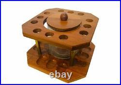 Briar Estate Pipe Display case holder 12 glass canister wood England vtg grabow
