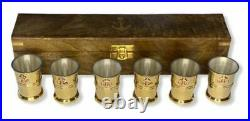 Bronze Marine Vodka Glasses 6 Pieces In A Wooden Case Made Of Natural Wood Used