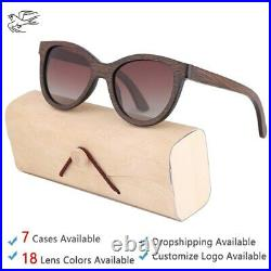 Brown Bamboo Wooden Sunglasses for Women Luxury Fashion Sun Glasses Polarized