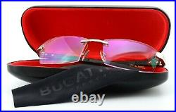 Bugatti Glasses 517 020 XL Ebony Gabon Wood Gray Gold Luxury Frame France + Case