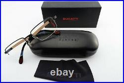 Bugatti Glasses Mod. 547 031 54 19 Luxury Square Eyeglasses Wood Black+Case