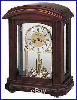 Bulova Nordale Analog Quartz Solid Hardwood Case Pendulum Mantel Clock B1848
