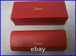 CARTIER Cartier Glasses Wood Frame C Decor Vintage Gold Case Boxed Men's