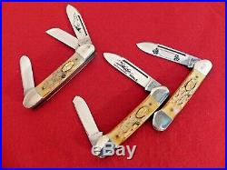 CASE 1985 XX GUNBOAT SET Limited Edition 3 Knives Mint in wood & glass display