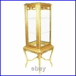 Cabinet Baroque Style Display Case With Marble Top Gold #mb31
