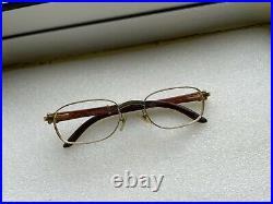 Cartier 135B 49 20 Wood Frame Gold Glasses Rare Vintage Case Paris Sun