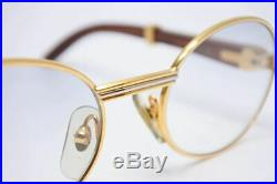 Cartier 135b 51-20 Wood Frame Rare Eyeglass Eyewear Glasses with Case from Japan