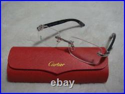 Cartier CARTIER Unused Glasses Made in France Case Wood frame C Deco Vintage