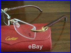 Cartier glasses C decor glasses frame Bubinga wood original case