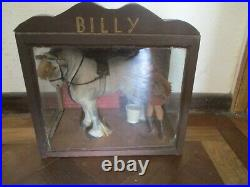 Charming Antique Hand Made Stuffed Cloth Shire Horse & Groom In Wood Glass Case