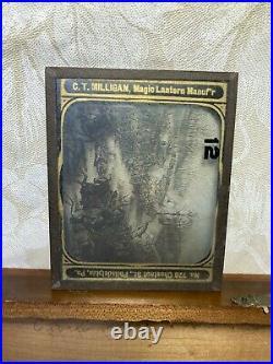 Civil War Glass Magic Lantern Slides in Wood Case 54 Slides