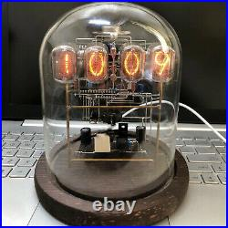 Classic Vintage IN-12 Nixie Tube Clock Assembled Round Glass Case Wood Base