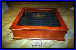 Coin Collection Wood Glass Display Case Locking Statehood Innovation Dollars