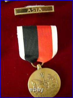 Collection of 7 Vintage US Navy Medals and Ribbons in Glass and Wood Case EL2