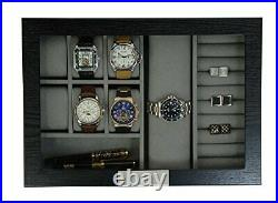 Decorebay Executive Hand Made Wood and Glass Cufflink Case & Ring Storage