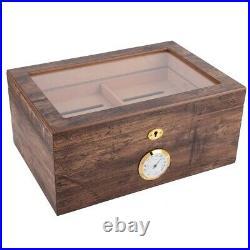 Desktop Cigar Humidor Case Large Glass Cigar Humidor Humidifier Box Cedar Wood