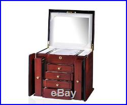 Diplomat Elegant Teak Wood Finish Jewelry Box Case Chest NEW