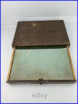 ELGIN 1 DRAWER CASE Wood With VIALS & GLASS BOTTLES SCREWS JEWELS WHEELS GEARS