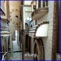 European Town Book Nook Book Shelf Insert Bookcase with Light Model Building