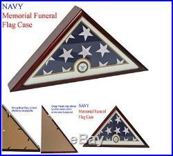 Flag Display Case Box Military Funeral Burial Veteran Memorial Glass Wood NAVY