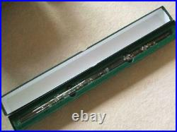 Flute Hall Crystal Glass Wood Case Inline White Lily D tone 0301 Made in USA