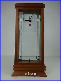 Frank Lloyd Wright Bulova Quartz Clock Cased Wood & Glass Mantle Clocks Interior
