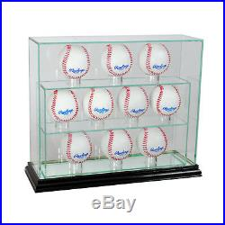 Glass Upright 10 Baseball Display Case Uv Protection Black Wood And Mirror