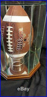 Glass Upright Football Display Case Uv Protection Walnut Wood