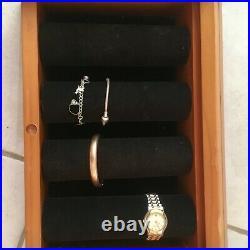 Glass & Wood Watch Bracelet Jewelry Bangle Storage Box Wristwatch Display Case