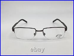 Glasses Frame Flair 409 833 half Rim Braun Wood Look Titanium Size L + Case
