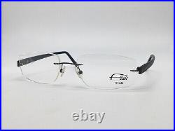 Glasses Frame Flair 631 873 Rimless Blue Wood Look Titanium Size L + Case