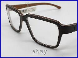 Glasses W-Eye Papilio Robin 0195 Wood Glasses Italy Dark Size L New + Case