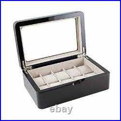 Glossy Espresso Wood Finish Watch Box Display Case with Glass Top Holds 10