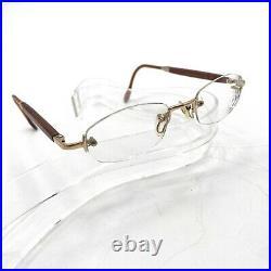 Gold & Wood Paris France Womens Frameless Eye Glasses With Black Original Case
