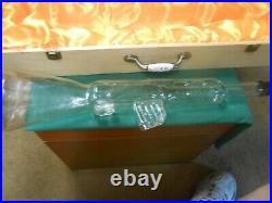 Great Collectible Glass TOMMY GUN Bottle in Wood Case-Porcelain Handle 22